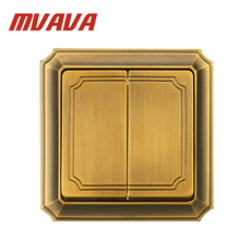 MVAVA Luxury Bronzed Wall Switch 16A 110-250V Decorative 2 Gang 2 Way Electrical Light Push Button Wall Switch Free Shipping