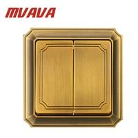 MVAVA Luxury Bronzed Wall Switch 16A 110 250V Decorative 2 Gang 2 Way Electrical Light Push Button Wall Switch Free Shipping