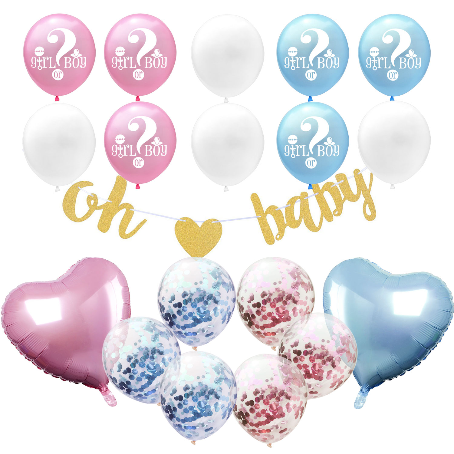 """Blue Confetti Party 18/"""" Gender Reveal Latex Balloon Baby Shower Boy Girl Pink"""