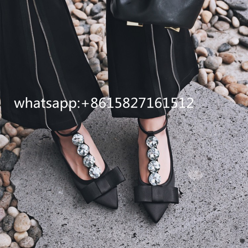 ФОТО Autumn/Spring New Pointed Toe Satin Pumps Low Heels Diamond Sexy T-strap Silk Pumps Woman's Party Bow Shoes Ankle Buckle Shoes