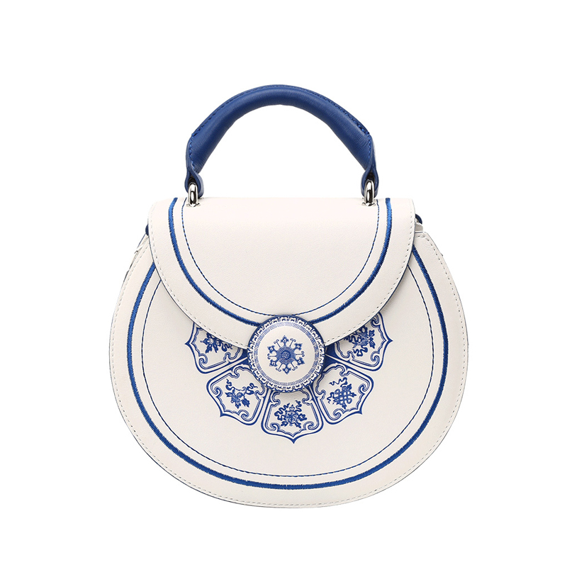 Original Design Genuine Leather Portable Lady Bag Folk custom Blue and White