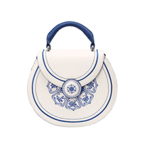 Original Design Genuine Leather Portable Lady Bag Folk-custom Blue and White Porcelain Messenger Shoulder Bag Small Round Female