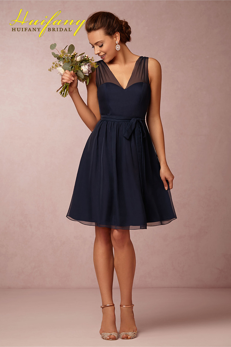 2017 short navy blue bridesmaid dresses with removable