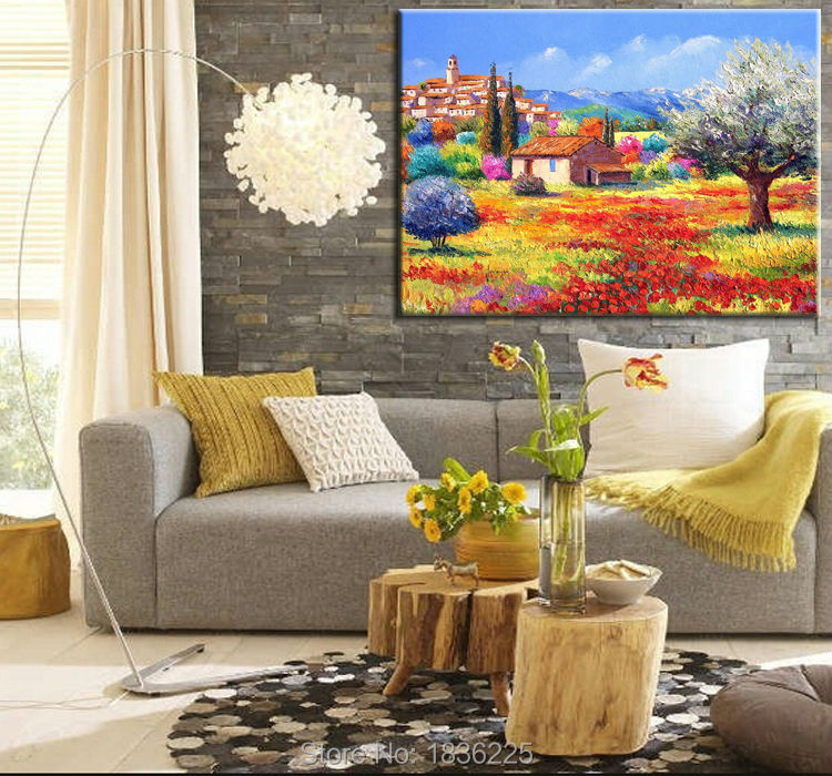 Hand Painted Art Painting On Canvas For Sale Mountain Landscape Paintings With Small Village