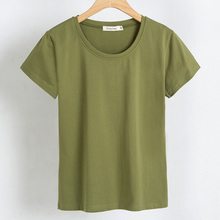 New Summer T-shirt  91%-95% Cotton  Round collar Bottom Solid for Women 2019 Explosive Short Sleeves Size M-XXL HJH цена