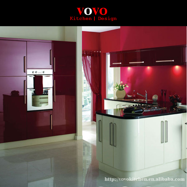 High Gloss Red Lacquer Kitchen Cabinet Designs-in Kitchen