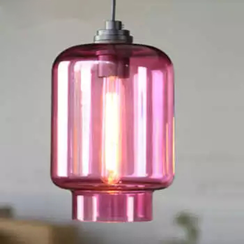 Nordic personality colorful glass E27 bulb pendant lamp coffee shop clothing store retro creative candy pendant light fixture nordic retro industrial iron chandeliers creative personality clothing shop coffee restaurant three single head bar led fixture