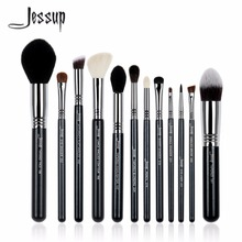 2017  jessup brushes 12Pcs Makeup Brush Set Kabuki Foundation Contour EyeShader Blend  Brow Powder Makeup  Brushes Tool T128