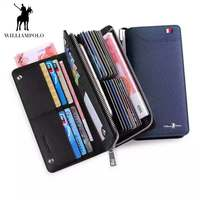 Genuine Leather Wallet Men Long Zipper Luxury Clutchbag Credit Card Holders Purse Business Fashion Design for Phone WilliamPOLO