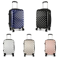 KONO Hardside Spinner Suitcase Luggage Carry on Trolley Case Travel Bag 4 Wheels PC + ABS Lightweight Diamond Shape 20 YD1992