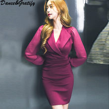 b1ab2203ec Korean Women Chiffon Sleeve Patchwork Office Work Dress 2018 New Autumn  Casual High Steert Notched Collar Slim Bodycon Dress