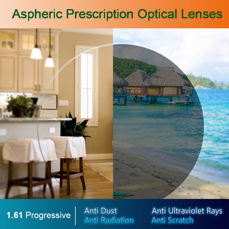 1.61 Photochromic Free-form Progressive Aspheric Optical Prescription Lenses Fast and Deep Color Coating Change Performance