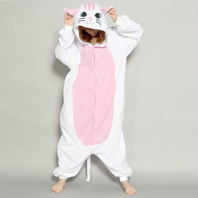 Cute Animal Cat   Pajama     Sets   Flannel Sleepwear Hooded Long Sleeve   Pajamas   Adults Winter Pyjamas for Women