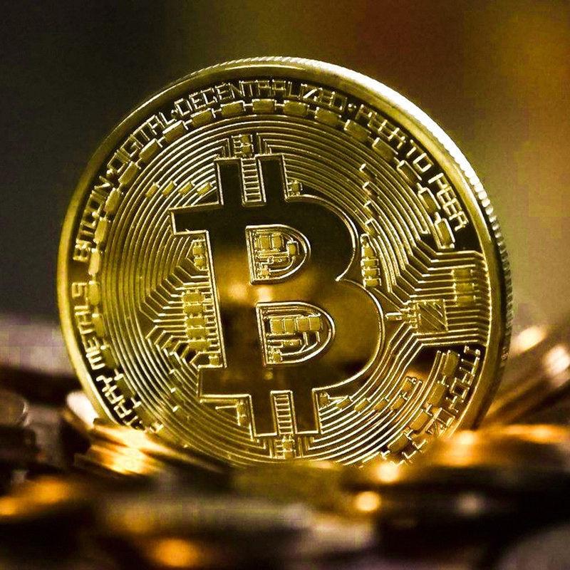Gold Plated Bitcoin Coin Collectible Art Collection Gift Physical commemorative Casascius Bit BTC Metal Antique Imitation-3