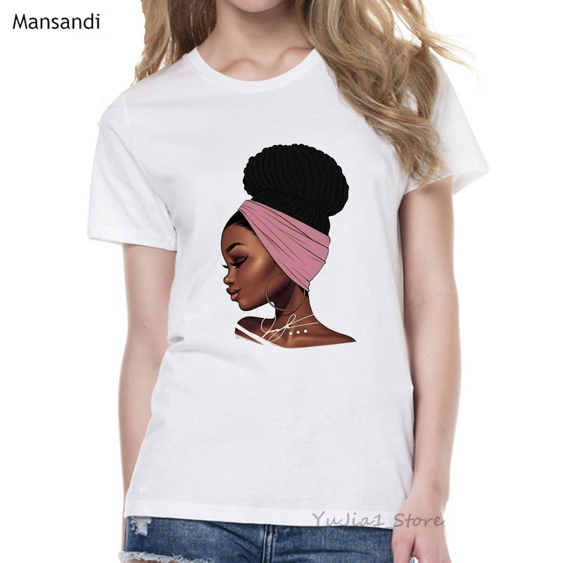 Melanin Poppin Shirt vogue t shirt women black African Curly Hair girl printed tshirt femme harajuku clothes female t-shirt tops 5