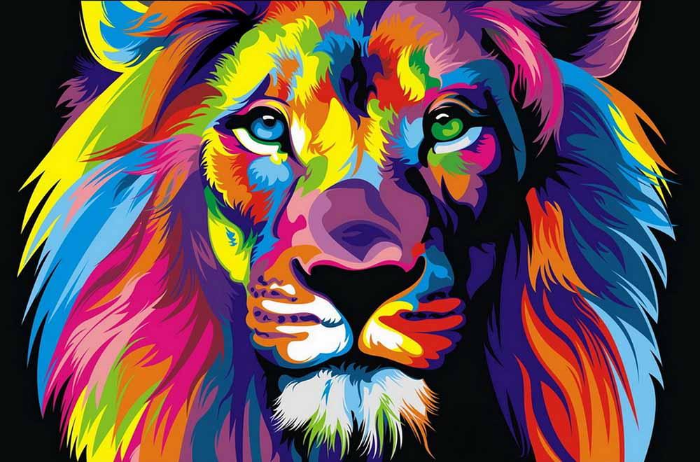 Domácí kancelář Dekorace Obývací pokoj Umělecká výzdoba HD Výtisky Zvířecí Barva Lion King Olejomalba Obrazy Vytištěné na plátně