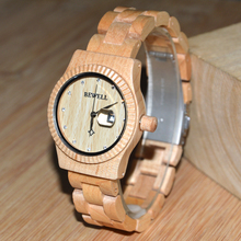 2018 BEWELL Top Gift Wooden Watches 100% all Wood Strap Unique Handmade Wood Quartz Watch with Calendar W064A