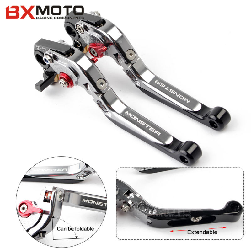 CNC Motorcycle Adjustable Foldable Extendable brake clutch levers For ducati monster 696 695 796 400 620 797 M 600 M 900 M 620 for ducati 848 evo 749 999 1098 1198 1199 899 panigale red motorcycle adjustable folding extendable brake clutch levers