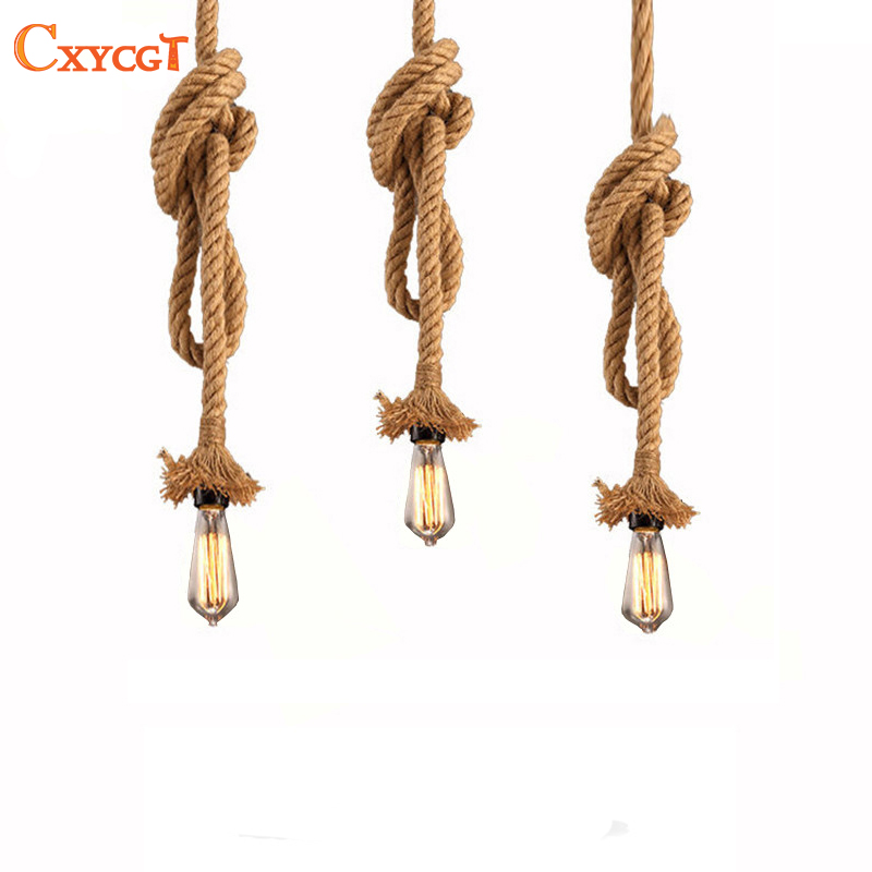 Retro Vintage Rope Pendant Light Lamp Loft Creative