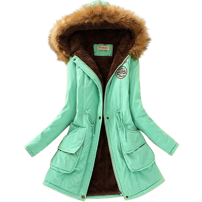 Thickening Warm Fur Collar Winter Coat New 2016 Women Clothes Women's Long Jacket Hooded Parka Army Green Overcoat Tops 2017 winter new clothes to overcome the coat of women in the long reed rabbit hair fur fur coat fox raccoon fur collar