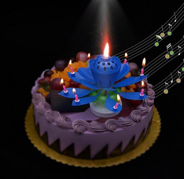 2 Layers Magic Music Candle Birthday Party Wedding Rainbow Lotus Sparkling Flower Candles Light Cake Accessory Festive Supplies