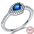 Water Drop  100% Real 925 Sterling Silver Blue Zirconia Rings Women Wedding Bride Gift High Grade Jewelry Crystal Brand