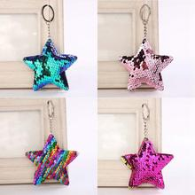 iMucci Cute Star Unicorn Mermaid Keychain Glitter Pompom Sequins Key Chain Gifts for Women Car Bag Accessories Key Ring