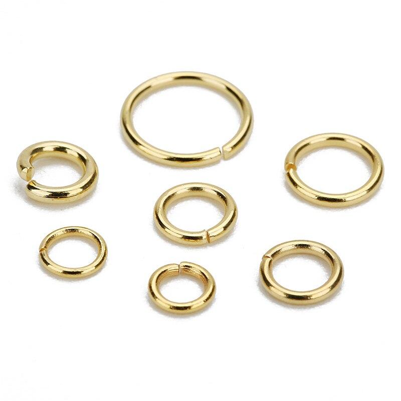 SAUVOO 100 adet/grup paslanmaz çelik açık atlama halkası 4/5/6/8mm Dia yuvarlak altın rengi için bölünmüş halkalar Diy takı yapımı bulguları