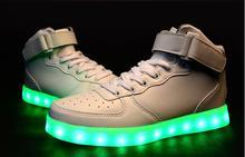 Hochwertige 7 Farben LED Leucht Frauen & Männer high top LED Schuhe Für Erwachsene USB Lade Schuhe für Party