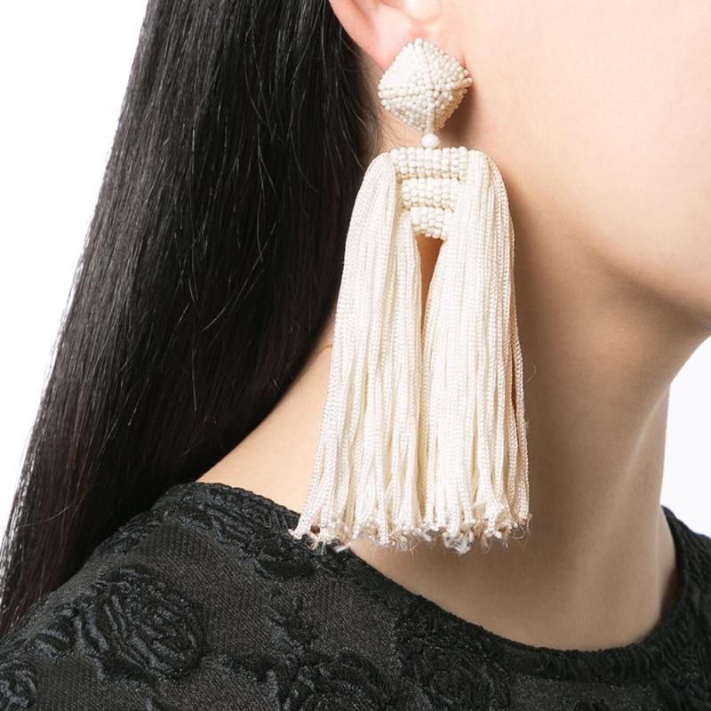 JUJIA 6 colors wholesale fashion jewelry women rope chain tassel vintage ZA statement Earrings