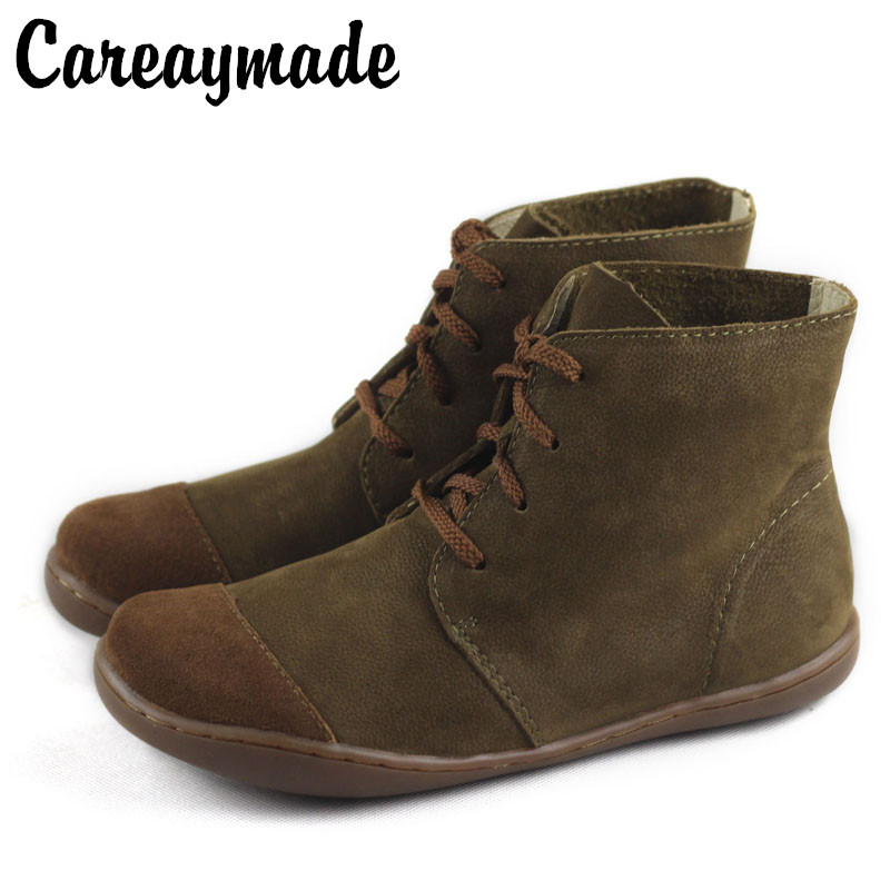 Careaymade جلد البقر القطن الكتان أحذية نسائية ، متجمد جلدية العتيقة حذاء كاجوال ، اليدوية جلدية مسطحة القاع مارتن الأحذية-في أحذية الكاحل من أحذية على  مجموعة 1