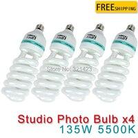 4 pcs CFL Photography Lighting Video Bulb Daylight Balanced Energy Saving fluorescent Lamp photo studio 135W E27 5500K