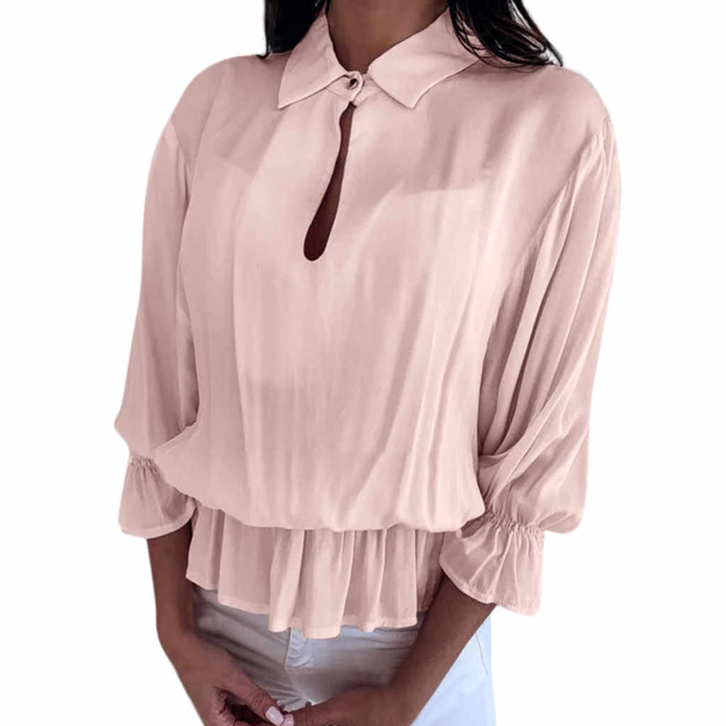 Women's Solid THree Quarter Sleeve Ruffled Elastic Band Button-Open Collar Top T-Shirt Summer Clothing Female Girl's Shirts Tees