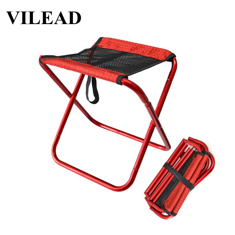 VILEAD 3 Colors Portable Camping Stools Ultralight Folding Breathable Mesh Aluminium Outdoor Picnic Chair BBQ Fishing 30*25*31cm-in Camping Stools from Sports & Entertainment