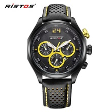 RISTOS Brand Sports Calendar Waterproof Men Watch Fashion Casual Leather Quartz Watches Mens Gifts Clock Reloj Hombre 2017 Saati