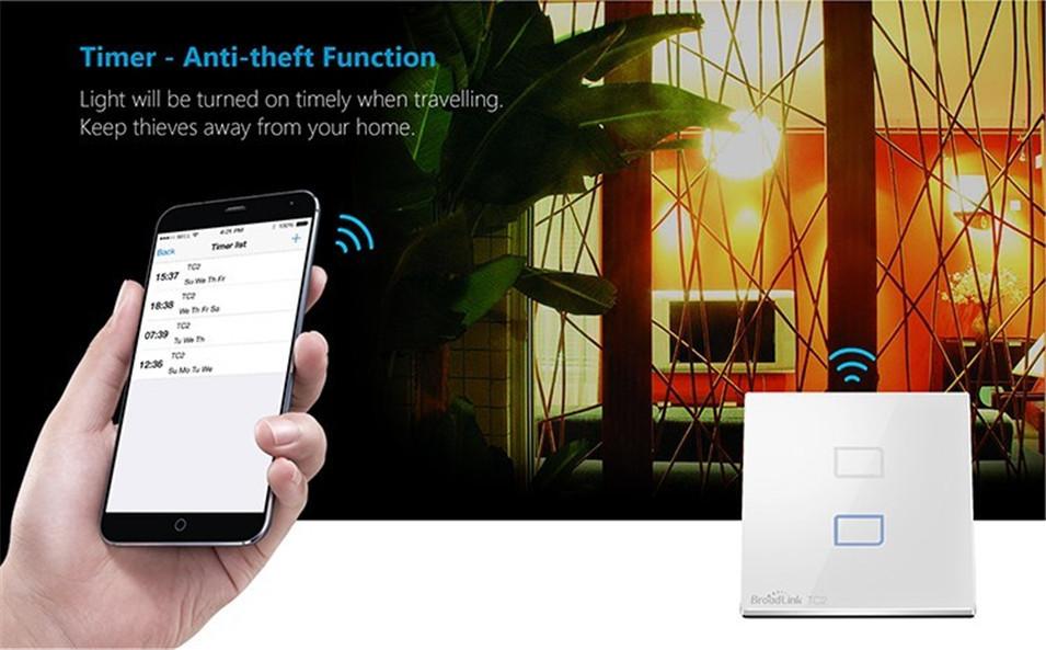 Broadlink EU UK TC2 Wireless 1 2 3 Gang Remote Control Wifi Wall Light Touch Switch 110-240V RF433 Broadlink Rm2 Rm Pro Domotica-12