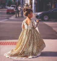 Sparkly hi lo golden sequins long sleeves flower girl dresses toddler kids baby birthday party evening gown with long train