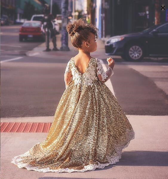 Sparkly hi lo golden sequins long sleeves flower girl dresses toddler kids baby birthday party evening gown with long trainSparkly hi lo golden sequins long sleeves flower girl dresses toddler kids baby birthday party evening gown with long train