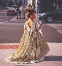 נוצץ hi lo זהב פאייטים ארוך שרוולים פרח ילדה שמלות פעוט ילדי תינוק יום הולדת מסיבת ערב שמלה עם רכבת ארוכה