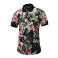 2017 Europe America Hot Men POLO Shirt Nice Flowers Print 3D Shirt 3 Button Men Casual Polo shirts M-3XL 1786-1787
