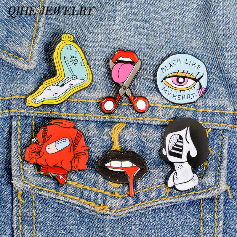 QIHE JEWELRY Women Face pins Vintage Enamel pins Women Lips Mouth Badges Lapel pins Brooches for women Brooches for Girls