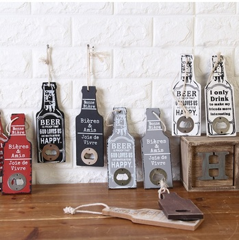 50pcs Retro Wooden Beer Bottle Opener Bar Restaurant Home Bottle Shape Wall Hanging Party Supplies Creative Gift lin4427