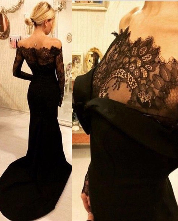 d930378c98c Black Lace Mermaid Elegant Long Sleeve See Through Evening Gowns Robes De  Soiree Prom Party Formal Occasion Dress 2017 -in Evening Dresses from  Weddings ...
