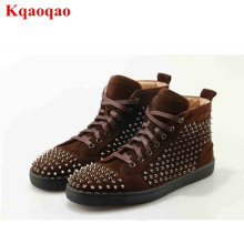 High Top Lace Up Men Casual Shoes Rivets Embellished Cool Fashion Lover Shoes Sneakers Luxury Brand Design Big Size Men Flats