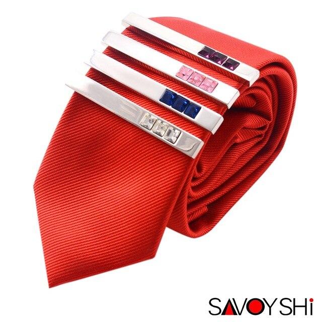 SAVOYSHI 4 Cores Luxo Cristal Prendedor de Gravata para Os Homens de Ternos Gravata Clips Tie Bar Fecho Pin Clip Bolso Da Camisa Marca de Design de Jóias