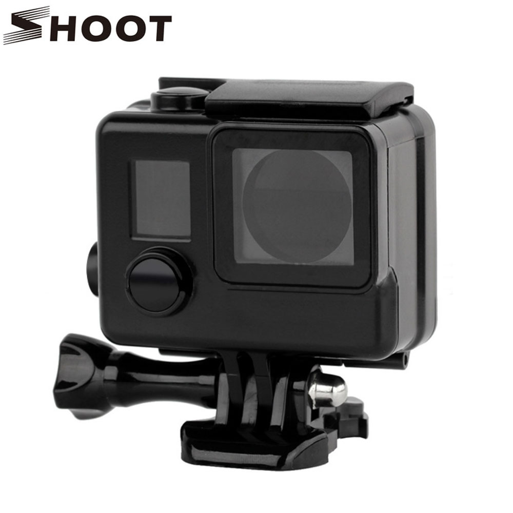 SHOOT 40M Diving Underwater Waterproof Case for Gopro Hero 4 3+ Hero4 Black Silver Camera Protective Case For Go Pro 4 Accessory