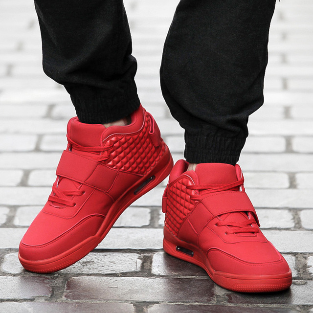 68434949ccb0 Red White Men Shoes Winter Casual Breathable Canvas High Top Shoes Lace Up  Flat Wedge Rubber Sole Leather Trainers Boots