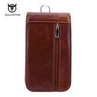 BULLCAPTAIN genuine leather waist packs fanny pack men cigarette purse male military waist belt bag casual mobile phone bags
