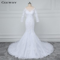 CEEWHY Open Back Wedding Dress Lace Bride Dress Elegant Mermaid Wedding Dresses Long Sleeve Vestido de Noiva Robe de Mariee