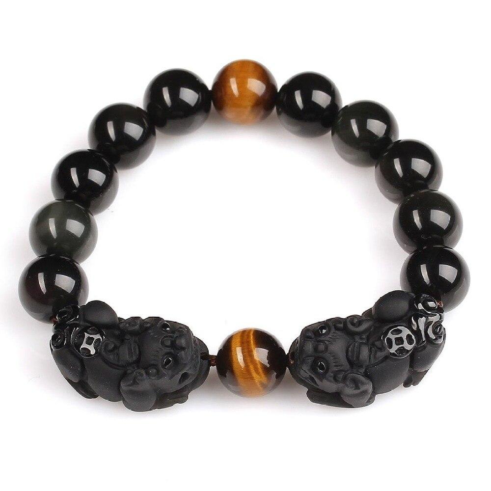 High Quality Natural Black Obsidian & Agate Carved Pixiu PiYao Lucky Beads Bracelets For Women Men Bracelet Jade Jewelry